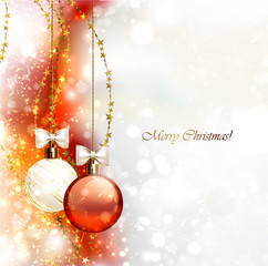 Christmas background with two Christmas baubles vector1318