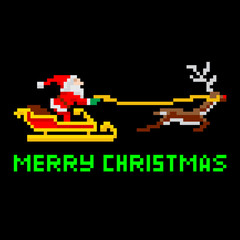 Retro pixel art Christmas Santa