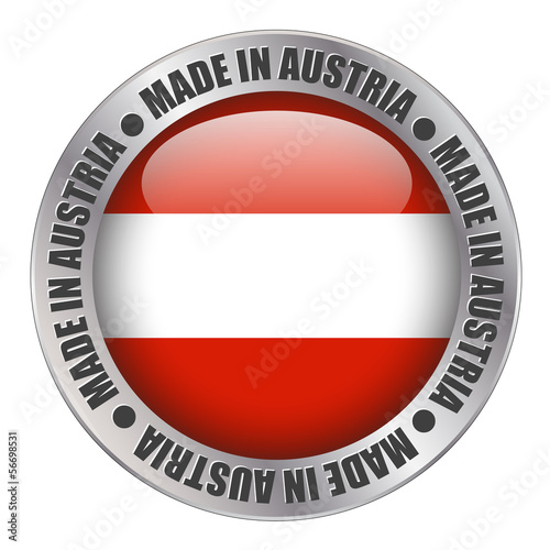 """MADE IN AUSTRIA"" label (badge stamp flag austrian made)"