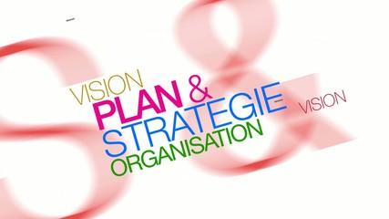 Vision Stratégie plan & organisation nuage de mots animation