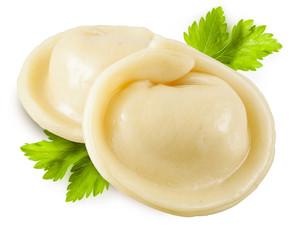 Dumplings. Russian pelmeni isolated on white