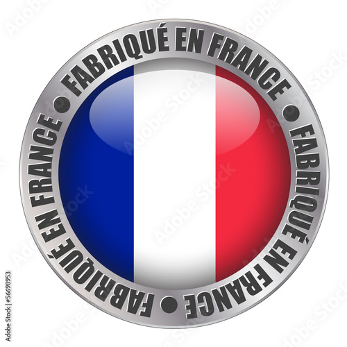 """MADE IN FRANCE"" label (badge stamp flag french produce button)"