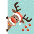 Rudolph Glasses & Beard Stars Banner Retro