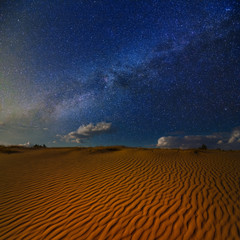 night scene in a sand desert