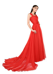 Woman in red, evening dress