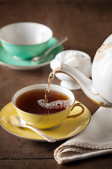 Serving tea on a table