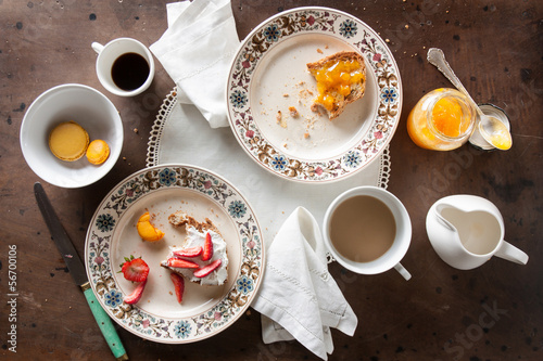 Eating romantic breakfast in table
