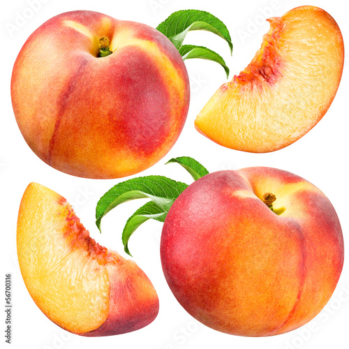 Peach and Slice isolated. Collection on white background