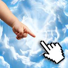 Children finger and digital finger touch each other on the sky