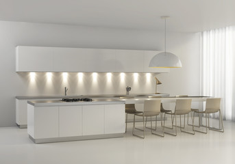 Contemporary minimal white kitchen with plastic chairs