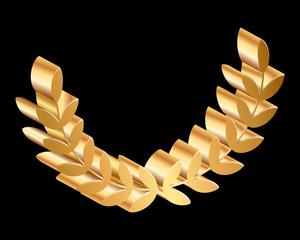 Vector gold laurels on black background