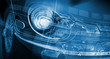 Leinwanddruck Bild - Car headlight