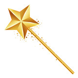 Vector illustration of golden magic wand