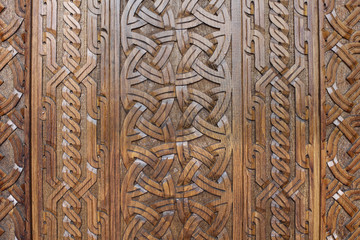 Handmade carved wooden background