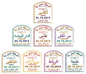 Stylised passport stamps of Morocco in vector format.
