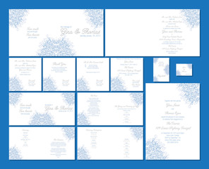 Blue Swirl wedding stationery set in vector format.