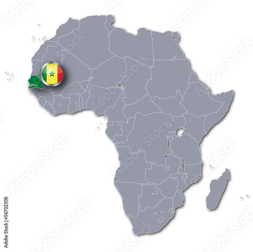 Afrikakarte mit Senegal