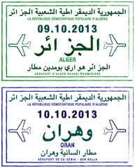 Stylised passport stamps of Algeria in vector format.