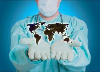 Doktor Welt Karte Arzt Krankenhaus Chirurgie