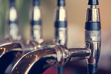 Beer taps close up