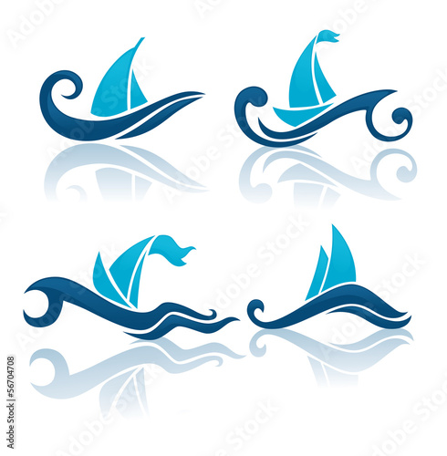 summer wave, vector collection of yachting symbols