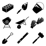 Monochrome vector icon set of building implements poster