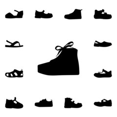 Set of kid shoes icons