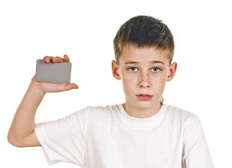schoolboy with card