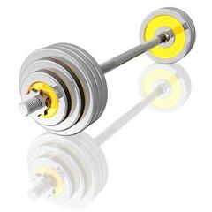 Langhantel mit glänzenden Gewichtsscheiben