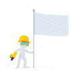 Construction worker with drill and blank flag
