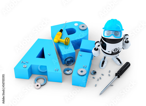 Robot with tools and application programming interface sign