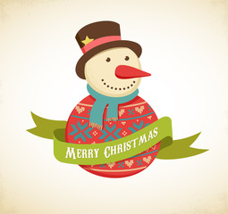 Christmas background with hipster snowman