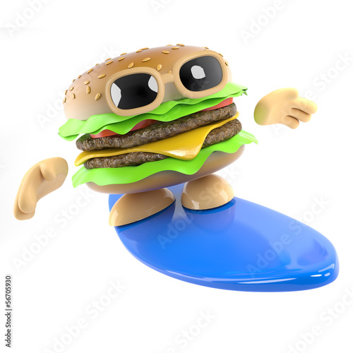 Burger goes surfing