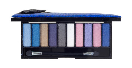 A case of eye shadow on a white background