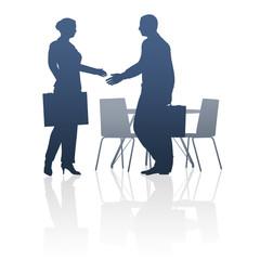 Business, Geschäftsleute, Händeschütteln / Silhouette