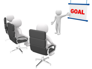 Goal concept.Isolated on white background.3d rendered