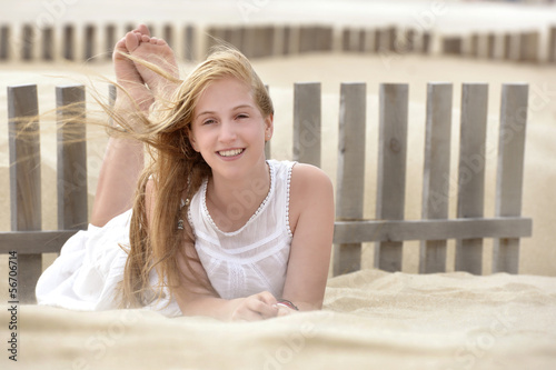 portrait of a cute young teen laughing and smiling
