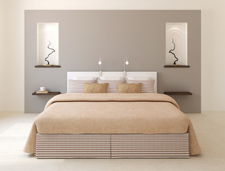 Modern bedroom interior.