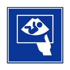 Cartel sanitario simbolo ecografia