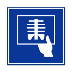 Cartel sanitario simbolo radiografia