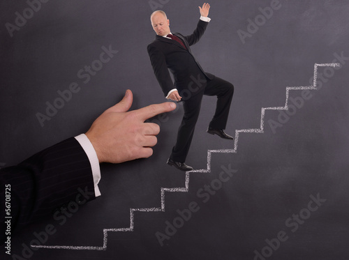businessman push