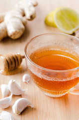 Tea with ginger, lemon and honey