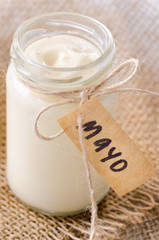 Bottle jar of mayonaise with 'mayo' label