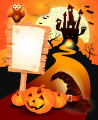 Halloween background with sign