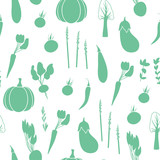 Vegetables seamless pattern. Cute vector