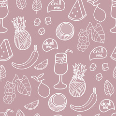 Fruit seamless pattern. Cute vector