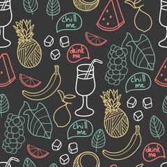 Fruit seamless pattern. Cute vector