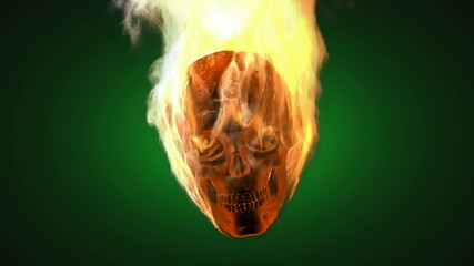 burning skull. Alpha matted