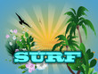 Surf background with palm trees