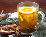 Spicy tea with apple and orange, cinnamon, star anise, Christmas